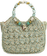 Cappelli Straworld Sea Charms Crochet Straw Tote Bag, Light Blue