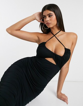 Asos Design DESIGN going out ruched midi dress with cut out-Black