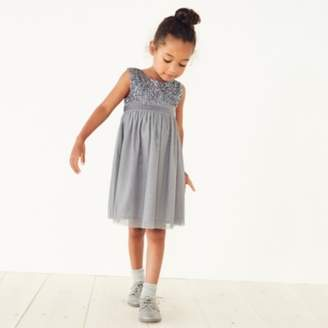 The White Company Sequin Party Dress (1-6yrs), Silver, 3-4yrs