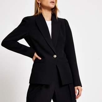 River Island Womens Black puff sleeve single button blazer