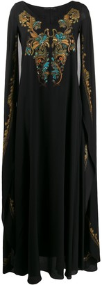 Etro embroidered cape dress