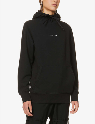 Alyx Graphic-print dropped-shoulder cotton-jersey hoody