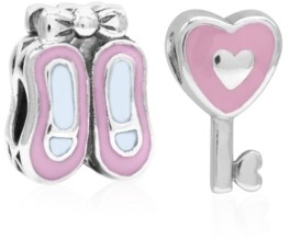 Rhona Sutton 4 Kids Children's Enamel Ballet Slippers Heart Key Bead Charms - Set of 2 in Sterling Silver