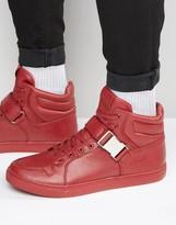 Asos High Top Trainers In Red With Strap
