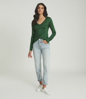 Reiss SELENA JERSEY V-NECK TOP Green
