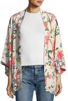 Elizabeth and James Drew Open-Front Floral-Print Silk Kimono