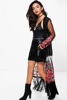 boohoo NEW Womens Eva Embroidered Tassle Maxi Kimono in Polyester