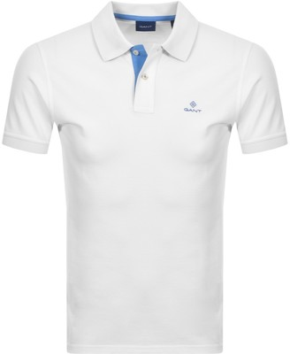 Gant Contrast Collar Rugger Polo T Shirt White