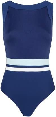 Shan Stripe High-Neck Swimsuit