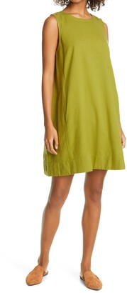 Eileen Fisher Organic Cotton Blend Sleeveless Shift Dress