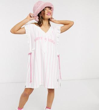 Little sunny bite mini dress with frills and boyfriend embroidery in stripe