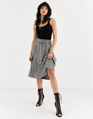 Object check midi skirt with paperbag waist