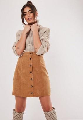 Missguided Petite Brown Cord Mini Skirt