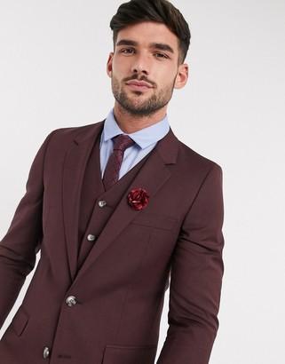 ASOS DESIGN wedding slim suit jacket in burgundy