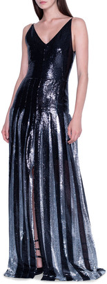 Akris Two-Tone Sequined Pleated Gown