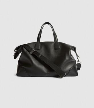Reiss Elliott - Leather Weekend Holdall in Black
