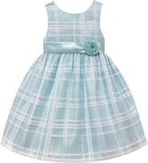 White & Ice Blue A-Line Dress - Infant, Toddler & Girls