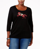 Karen Scott Plus Size Holiday Gallop Graphic Top, Only at Macy's