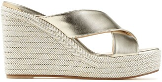 Jimmy Choo Dovina metallic strap wedge sandals