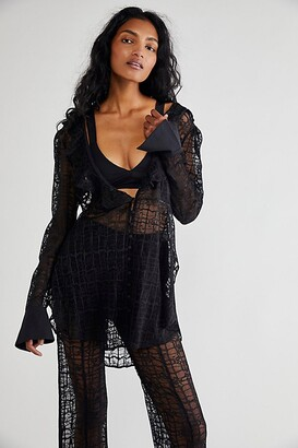 Free People Night Moves Lace Buttondown Top