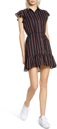 BB Dakota City Lines Striped Belted Mini Dress