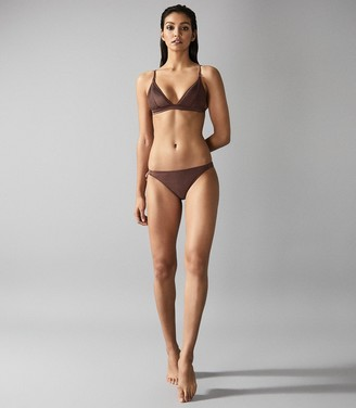 Reiss Raquel - Pleat Detail Bikini Briefs in Dark Brown