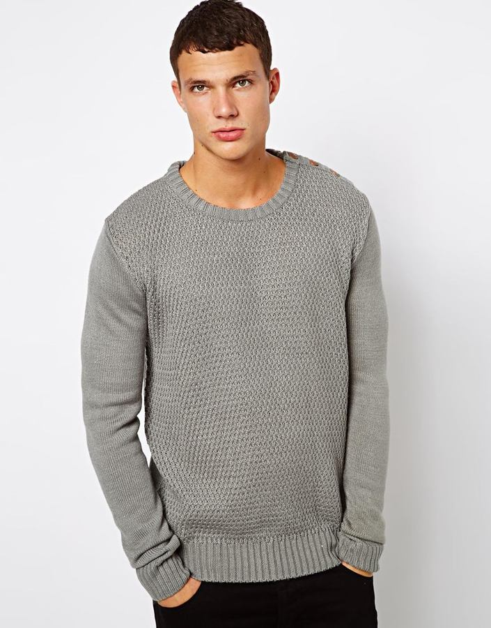 Solid Sweater With Button Shoulder