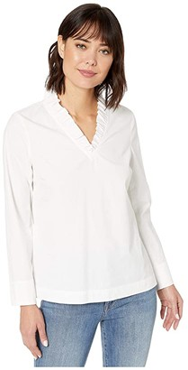 Vineyard Vines Ruffle Neck Top (White Cap) Women's Clothing