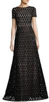 Escada Macrame Lace Short-Sleeve Gown, Black