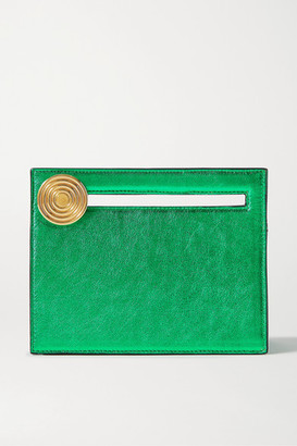 BIENEN-DAVIS Max Mini Metallic Leather Clutch - Green