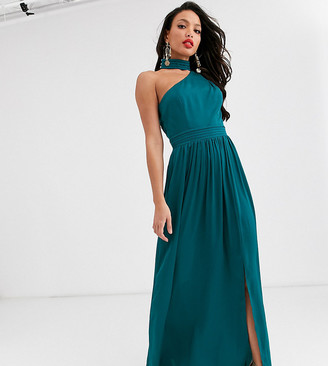 Little Mistress Tall satin maxi dress in teal