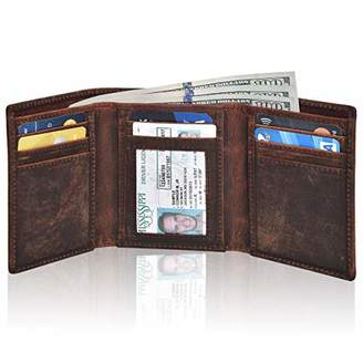 Leather Wallets for men with rfid- Slim Wallet for mens Credit Card Holder travel wallet with ID Window wallets