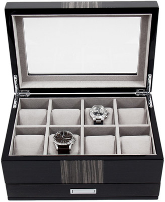 Bey-Berk Lacquered Wood 8-Watch Box