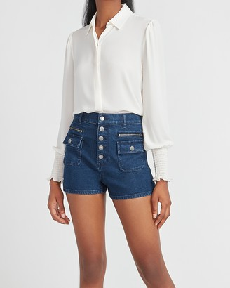 Express Super High Waisted Button Fly Zip Pocket Mom Jean Shorts