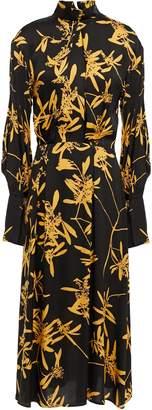 Dagmar House Of Pleated Floral-print Satin Midi Dress