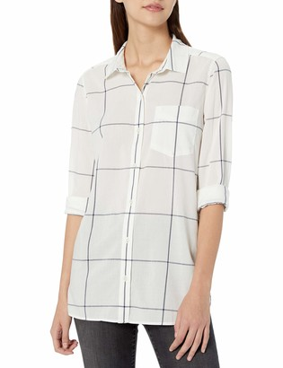 Goodthreads Lightweight Poplin Long-sleeve Button-front Shirt Blue/Orange/White Plaid