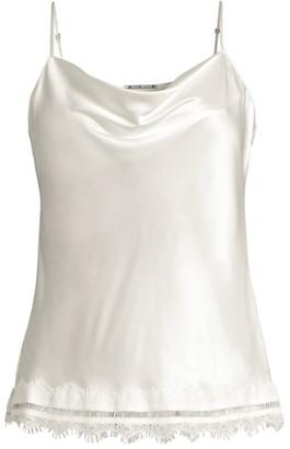 Elie Tahari Jerri Lace-Trim Silk Camisole Top