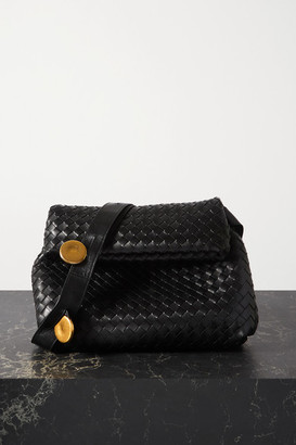 Bottega Veneta The Fold Embellished Intrecciato Leather Shoulder Bag - Black