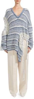Stella McCartney Chunky Distressed V-Neck Sweater