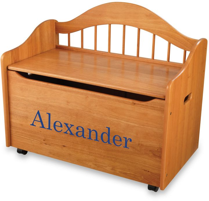 Kid Kraft Personalized Boy's Toy Box in Honey with Blue Lettering