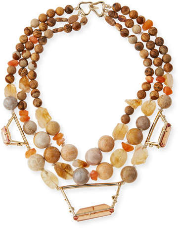 Alexis Bittar Beaded Citrine, Jasper & Agate Necklace