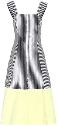 STAUD Ariel striped cotton midi dress