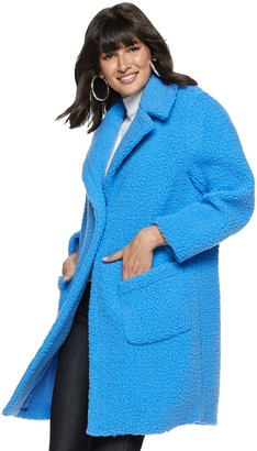Nine West Women's Long Teddy Coat