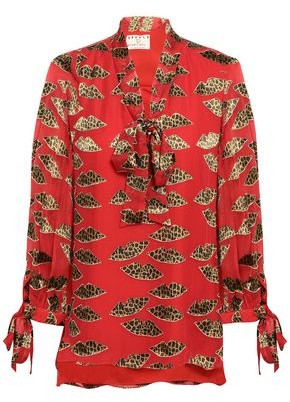 Alice + Olivia Pussy-bow Leopard-print Fil Coupe Georgette Blouse