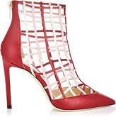 Jimmy Choo SHELDON 100 Red Nappa Leather Booties with Rosewater and Chalk Caged Detailing
