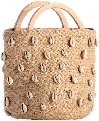 Shiraleah Women's Bucket Bags NATURAL - Beige Shell-Embellished Top Handle Cara Bucket Bag