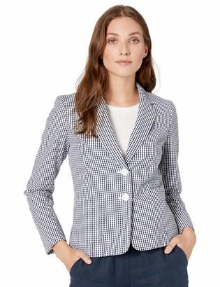 Nine West Women's 2 Button Notch Collar Gingham Jacket