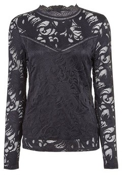 Dorothy Perkins Womens **Vila Black High Neck Lace Top, Black