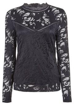 Dorothy Perkins Womens Vila Black High Neck Lace Top, Black