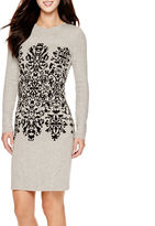 Studio 1 Long-Sleeve Damask Pattern Sweater Dress